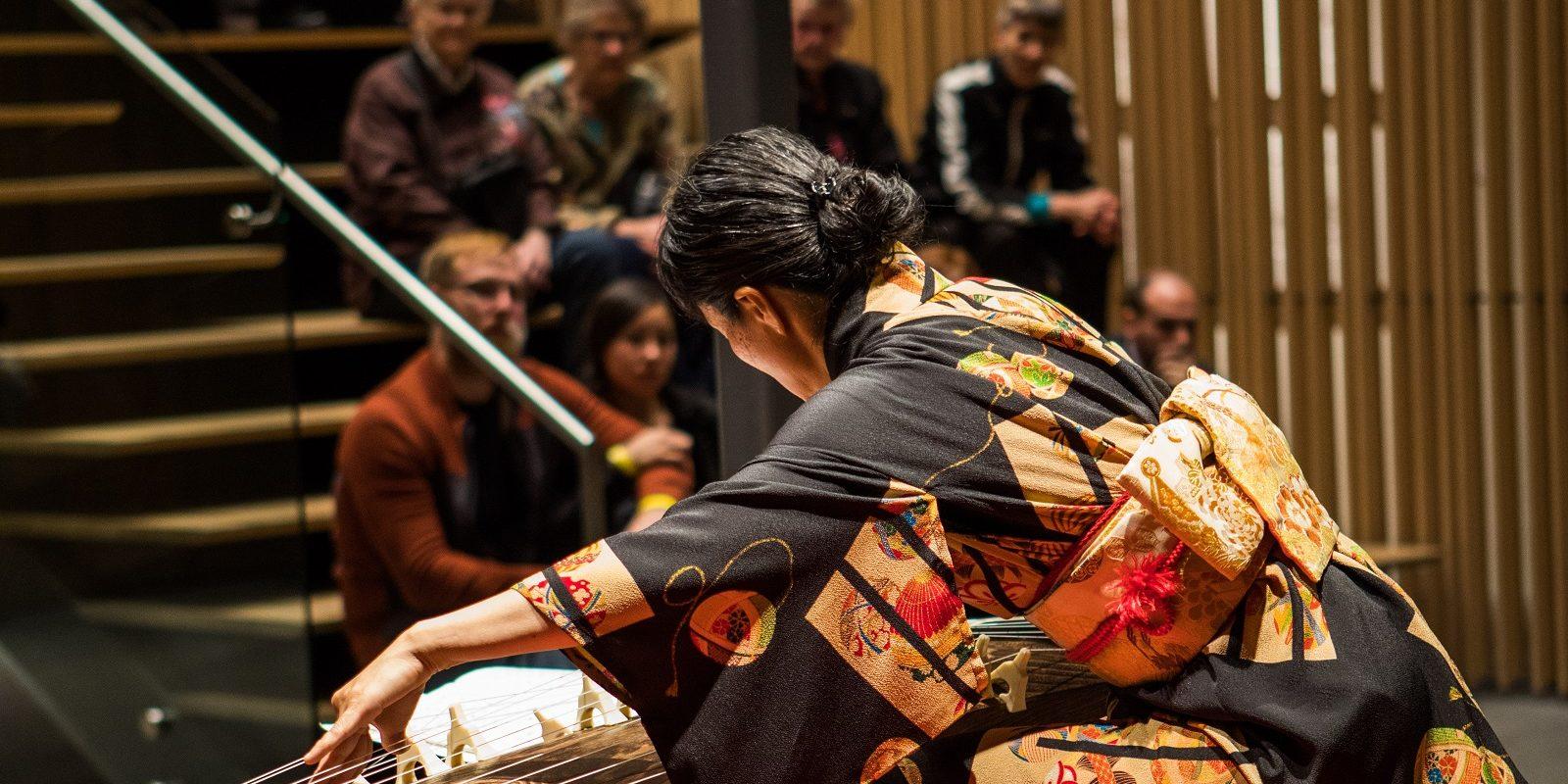 Mitsuki Dazai performing koto music at Moonviewing 2017