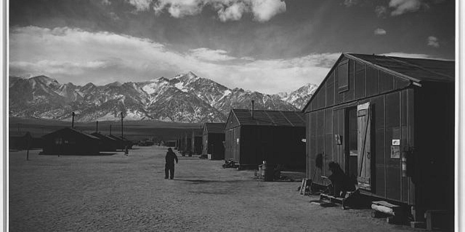 Manzanar street scene, Winter (1943)