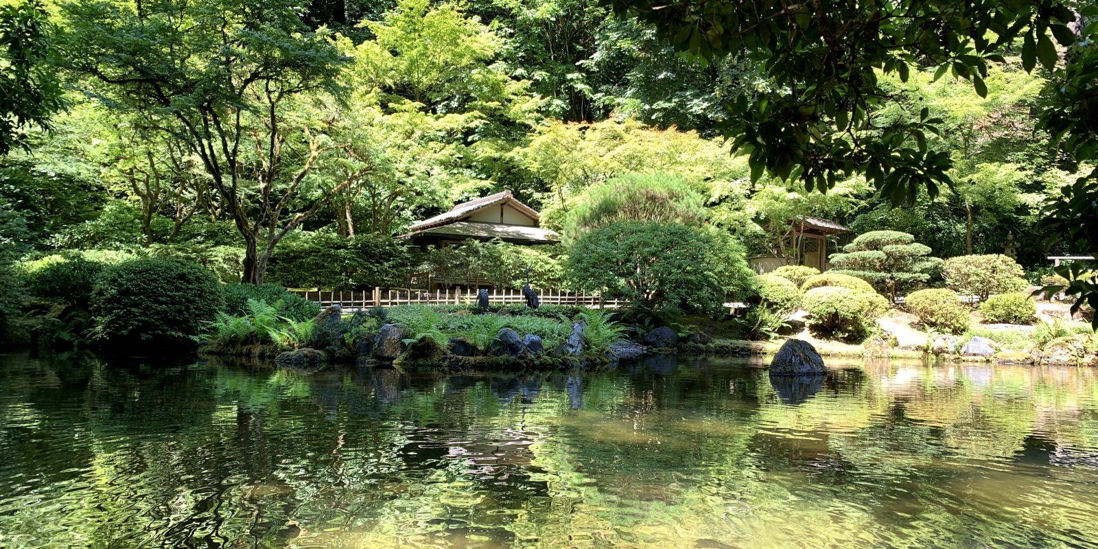 kashintei tea house from the peace lantern at portland japanese garden